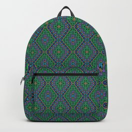 New Delhi #3  Floral Diamonds in Green and Purple Backpack