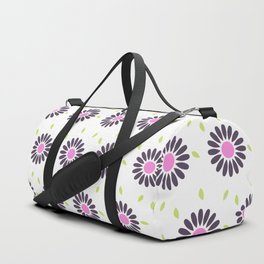 Hand painted black pink lime green floral daisies Duffle Bag