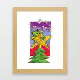 Christmas Star Frog Framed Art Print