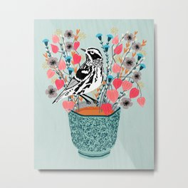 Tea and Flowers - Black and White Warbler by Andrea Lauren Metal Print