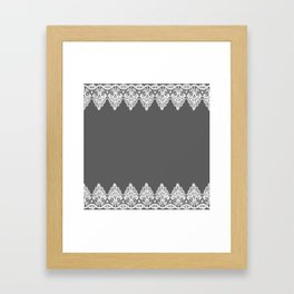 White Vintage Lace Gray Background Framed Art Print