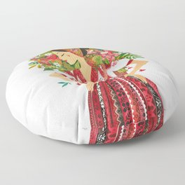 Folk Flower Girl Floor Pillow