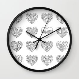 Tiny Hearts and Patterns, Adult Coloring Pattern Wall Clock