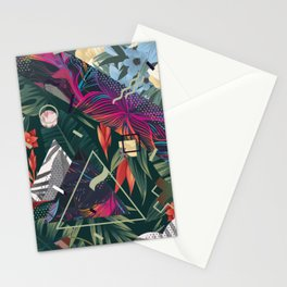 Floral Memphis Style Stationery Cards