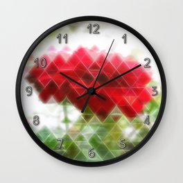 Red Rose with Light 1 Art Triangles 2 Wall Clock