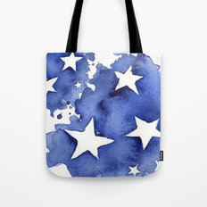 Stars Abstract Blue Watercolor Geometric Painting Tote Bag