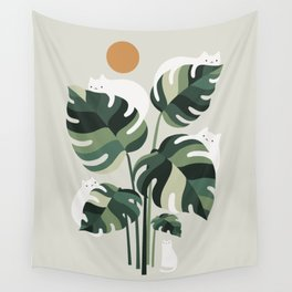 Cat and Plant 11 Wall Tapestry