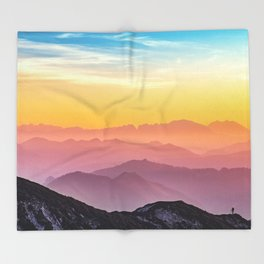 sky blue yellow orange purple Throw Blanket