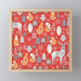 Scandinavian Christmas pattern on a red background. Deer, owls, foxes, trees and grass, snowflakes. Framed Mini Art Print