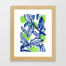 Blue and lime green abstract apple tree Framed Art Print