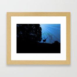 Moon & Deer - JUSTART © Framed Art Print