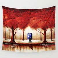 targaryen Wall Tapestries featuring Tardis Cloud - Red by albert Junior