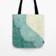 California State Map Blue Vintage Tote Bag