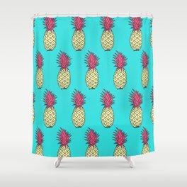 Pineapple Jive - Teal Wineberry Shower Curtain