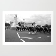The Guards with their Horses b&w 5 Art Print
