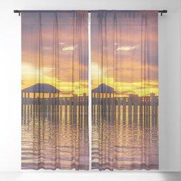 Gulf Coast Sunset over Biloxi Bay Sheer Curtain