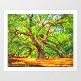 Angel Oak Tree - Charleston South Carolina Area Landmark Art Print