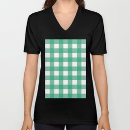 Gingham (Mint/White) Unisex V-Neck
