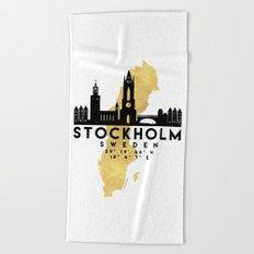 STOCKHOLM SWEDEN SILHOUETTE SKYLINE MAP ART Beach Towel