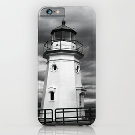 Cheboygan Light in Black and White iPhone Case