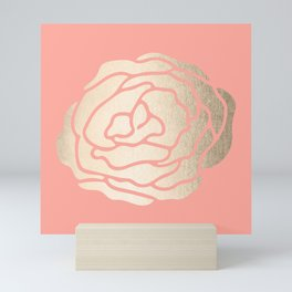 Rose White Gold Sands on Salmon Pink Mini Art Print