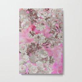 Neon Pink Floral Metal Print
