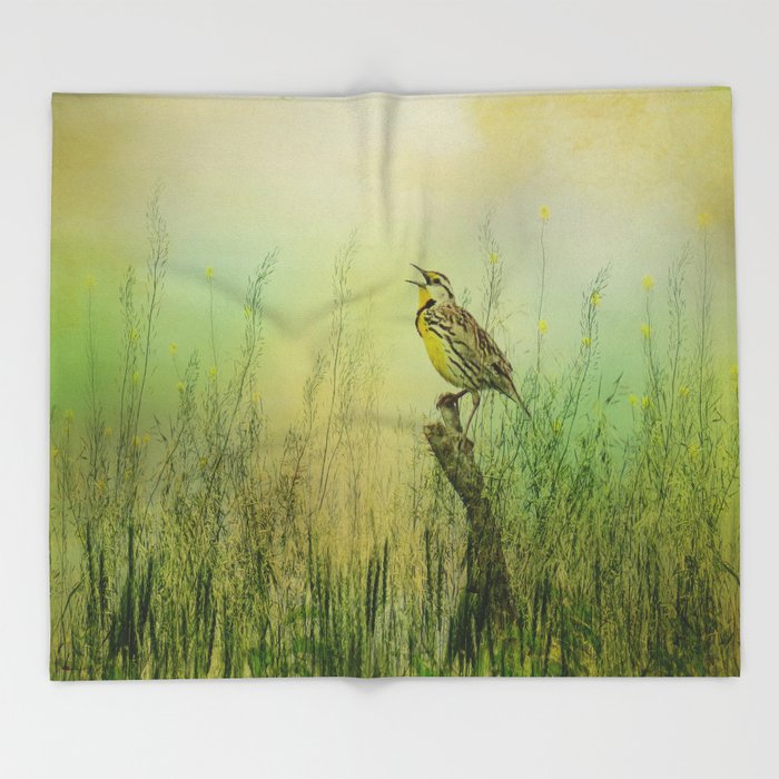 The Meadow Lark Sings Throw Blanket