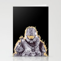 master chief Stationery Cards featuring Halo Master Chief by DeMoose_Art