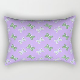 Modern artistic violet green butterfly illustration pattern Rectangular Pillow