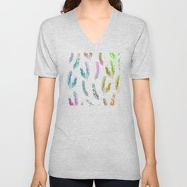 Rainbow Colored Feather Pattern Unisex V-Neck