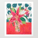 Pink and White Lily Bouquet with Matisse Wallpaper by larameintjes