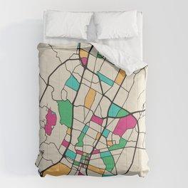 Colorful City Maps: Austin, Texas Comforters
