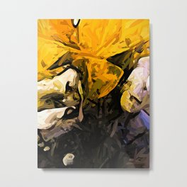 The Yellow Flowers and White Roses 4 Metal Print