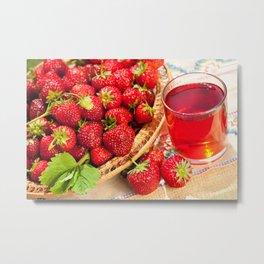 Red strawberries in basket and juice Metal Print