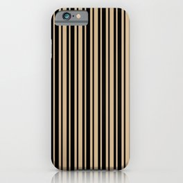 Tan Brown and Black Vertical Var Size Stripes iPhone Case
