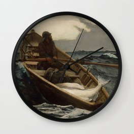The Fog Warning / Halibut Fishing by Winslow Homer Wall Clock