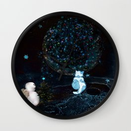 BLUE CHRISTMAS STARGAZERS ~ BACK WHERE MY HEART IS LONGING TO BE Wall Clock