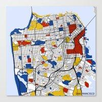 san francisco Canvas Prints featuring San Francisco by Mondrian Maps