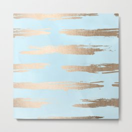 Abstract Paint Stripes Gold Tropical Ocean Sea Turquoise Metal Print