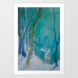White Stag of the Winter Solstice Art Print