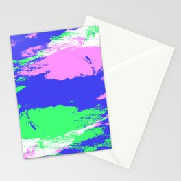 Hisaey -Abstract Pink Green Blue Camouflage Pattern Stationery Cards