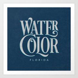Watercolor, FL Typography (Blue) Art Print