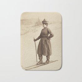 Vintage Skiing Photo Bath Mat