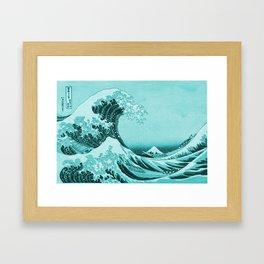 Aqua Blue Japanese Great Wave off Kanagawa by Hokusai Framed Art Print