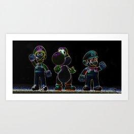 Luigi, Yoschi and Mario Art Print