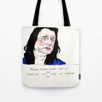 notorious Tote Bags featuring Notorious W.I.S.E.A.U by withapencilinhand