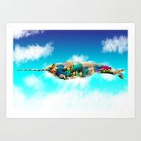 narwhal Art Prints featuring Narwhal by Sircasm