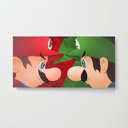 Mario vs Luigi Metal Print