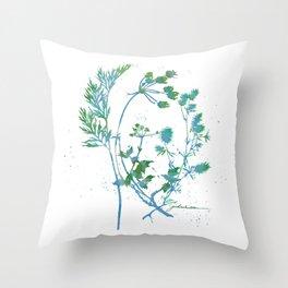 Botanical 1 Blue and Green Throw Pillow