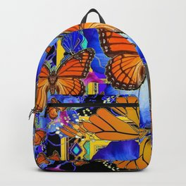 ABSTRACT ORANGE MONARCH BUTTERFLIES & BLUE FLORAL BLACK Backpack
